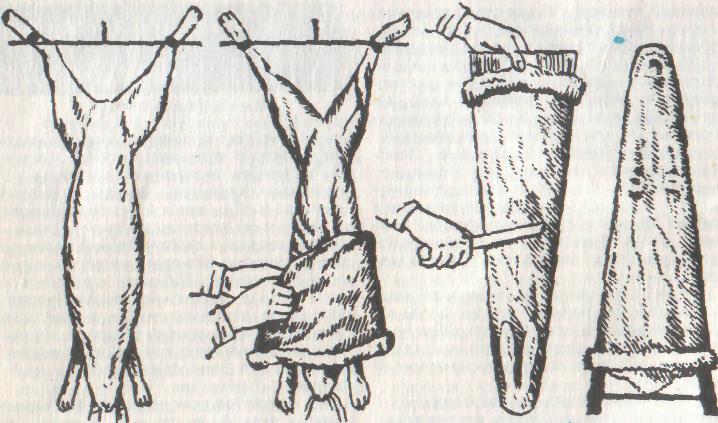 съем шкурки кролика на правилки